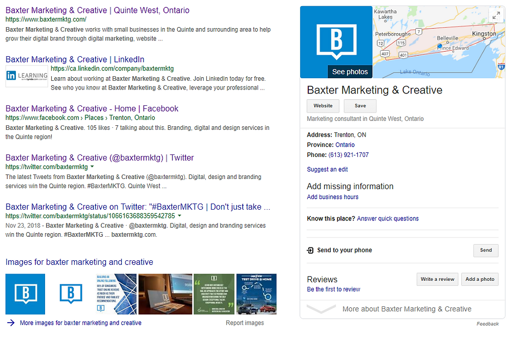 Google My Business listing example on Google Search