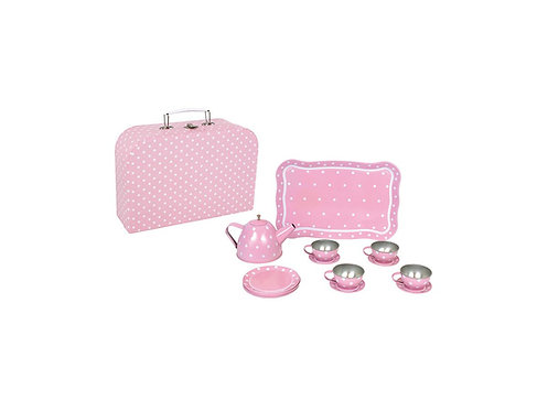 Tee-Set aus Blech im Koffer JABADABADO