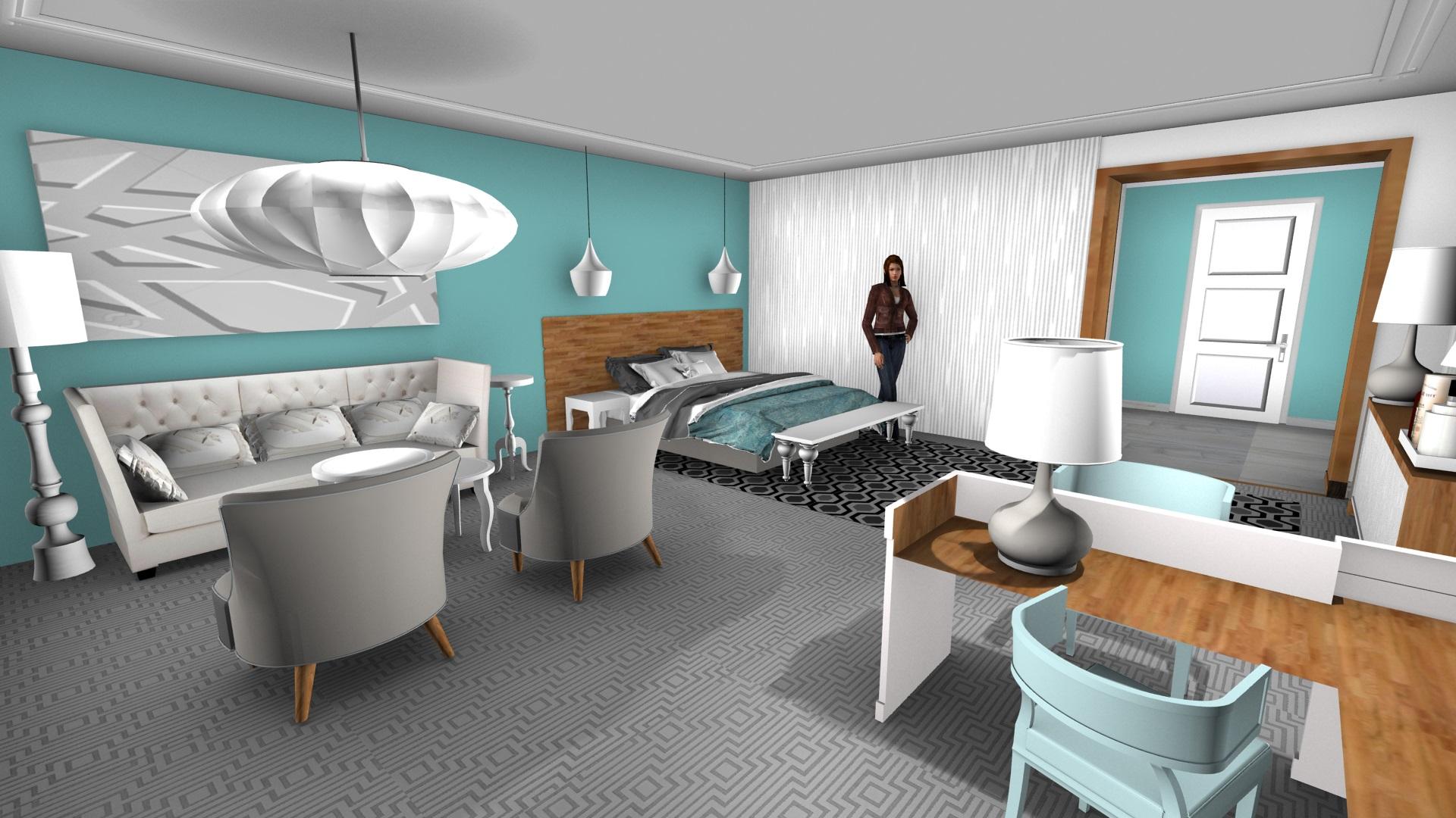 3d tekening hotelkamer slaapgedeelte
