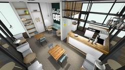 3d tekening eetcafe bar