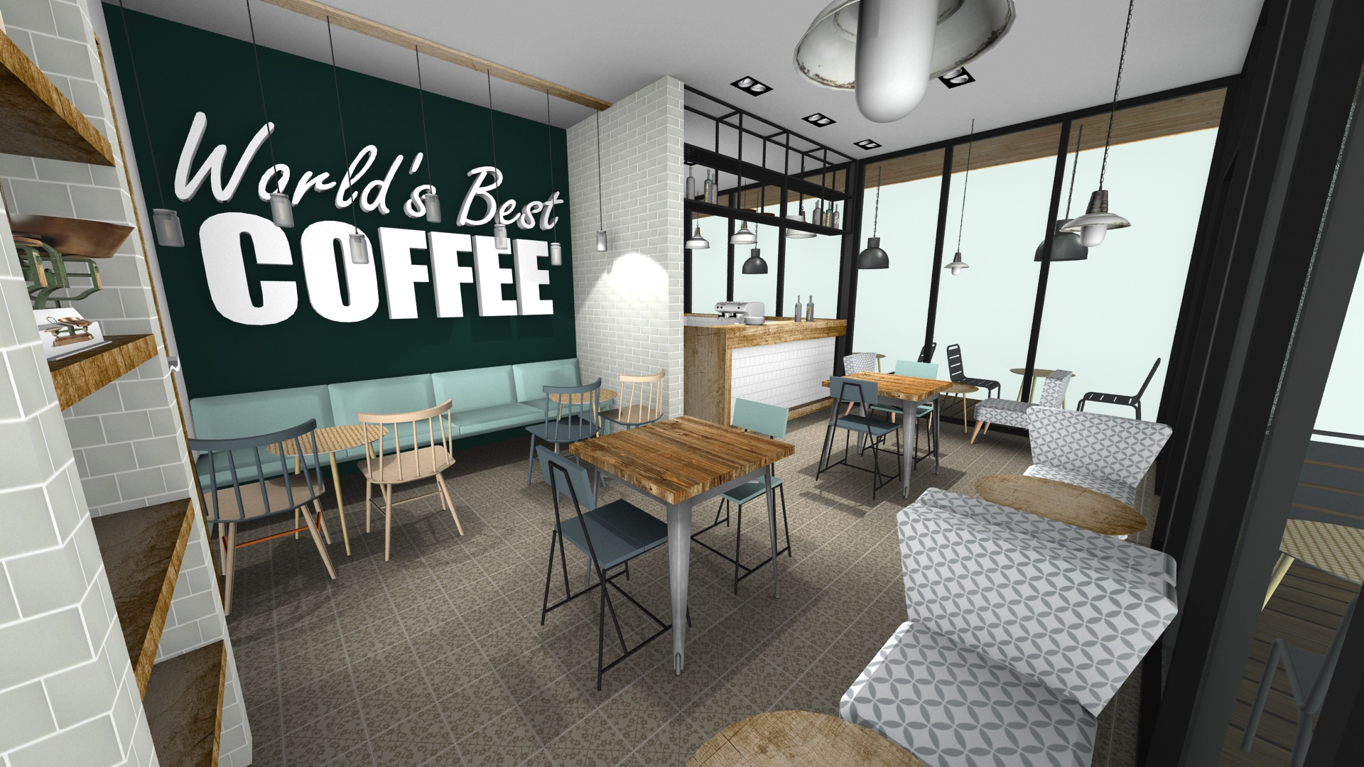 3d tekening eetcafe treinzit en koffiewand
