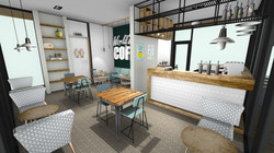 3d tekening eetcafe bar en zitgedeelte