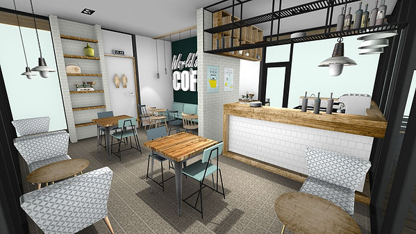 3d interieurontwerp eetcafe en coffeebar