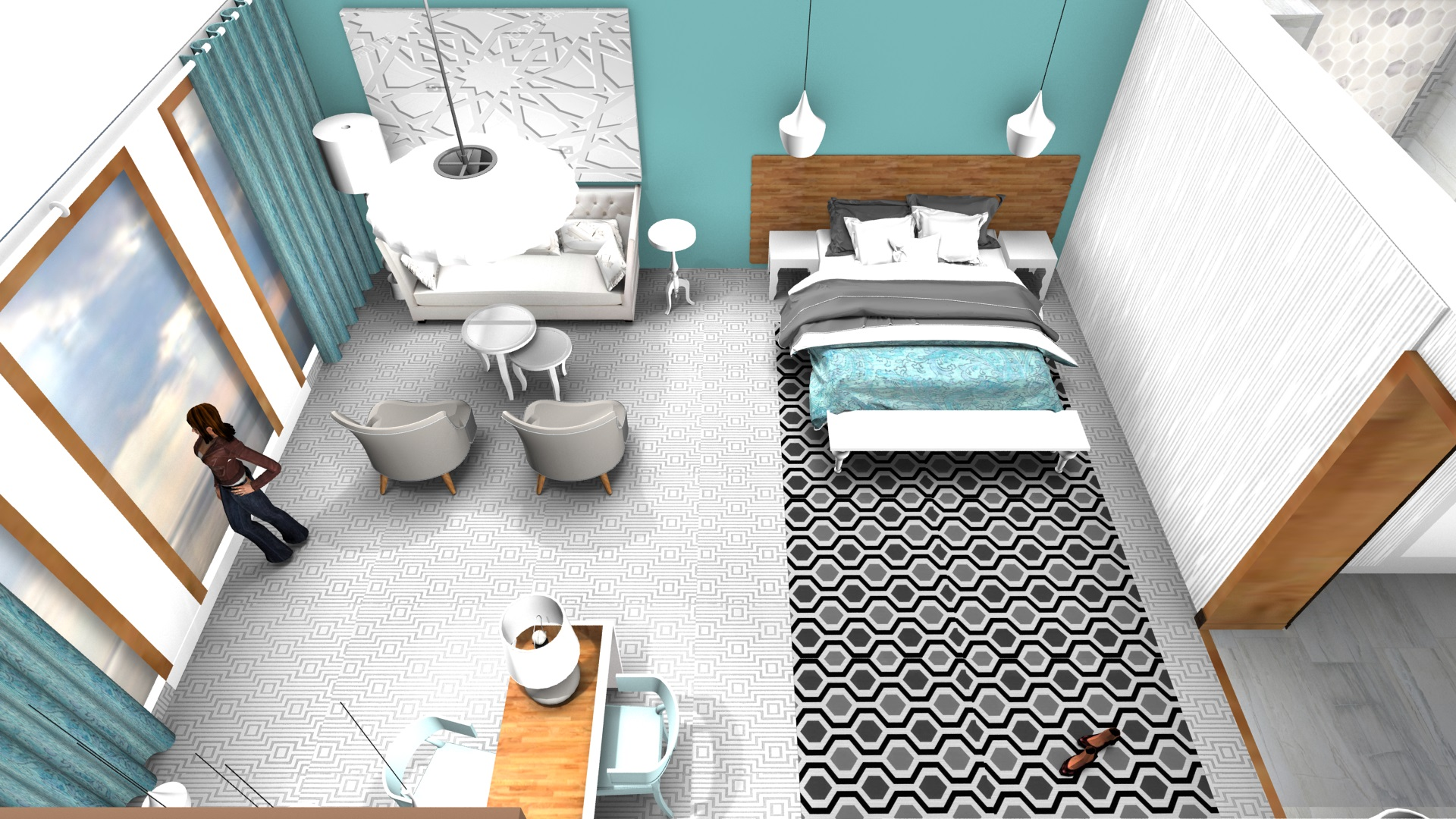 3d tekening hotelkamer overview