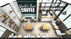 3d tekening eetcafe tafelindeling