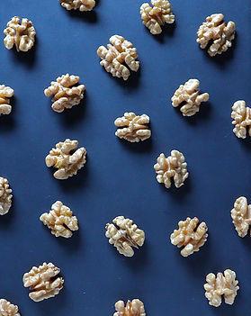 walnuts spread out on a blue backdrop. Walnuts represent a brain.