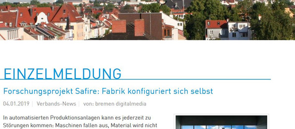 SAFIRE article in Bremen Digital Media