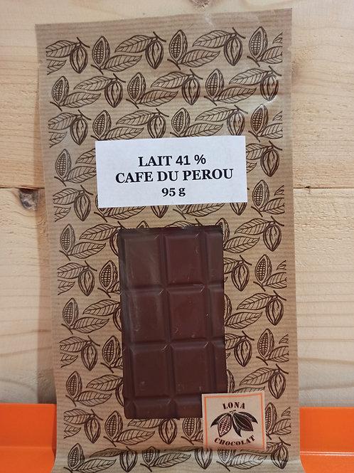 Tablette Lait  41 % Café du Pérou 95g