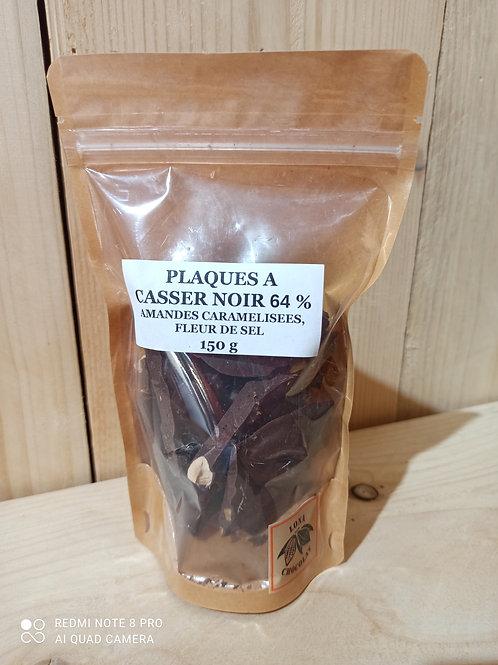 Plaques à casser Noir 64% Amandes Caramélisées Fleur de Sel 150g