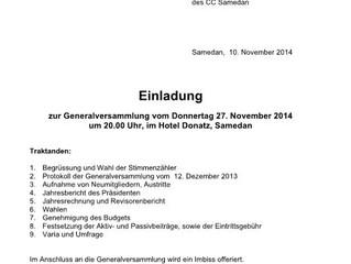 GV am Donnerstag den 27. November 2014 um 20.00 im Hotel Donatz