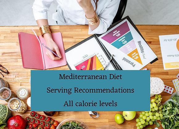 Mediterranean Diet Serving Recommendations All calorie levels