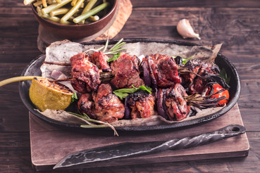 Marinated Pork Kebabs with Cider and Rosemary