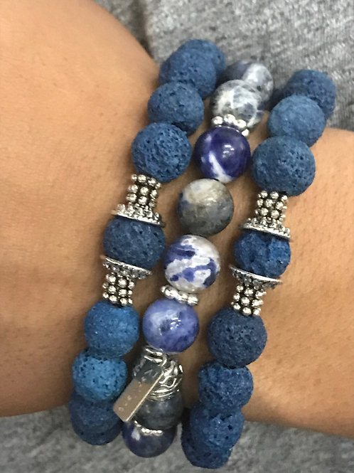Blue lava beaded uni-sex bracelet