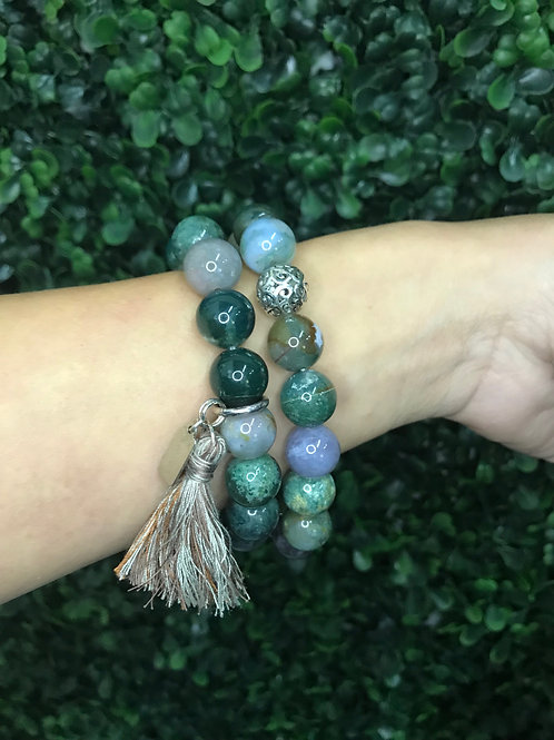 Multi-colored Jadeite bracelet with handmade tassel