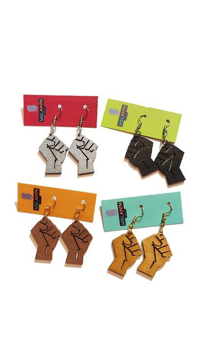 Mini Black Power Fist Earrings