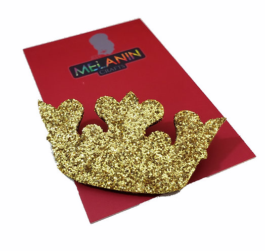 Gold Crown Brooch Pin