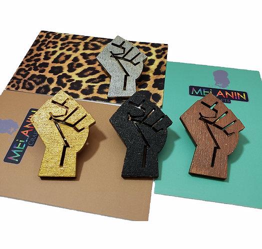 Black Power Fist Brooch Pins