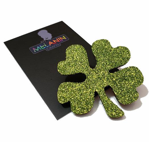 4 Leaf Clover Glitter Brooch Pin