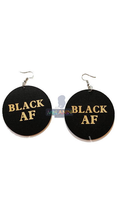 Black AF - Wooden Earrings