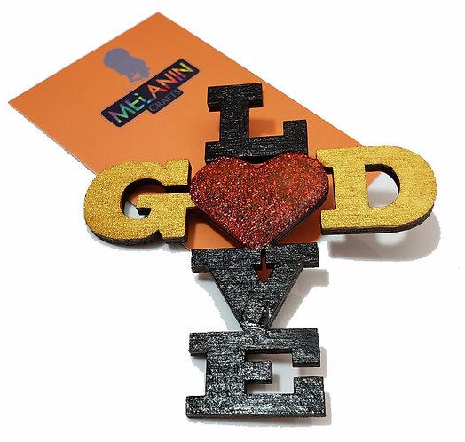 Love God Glitter Brooch Pin