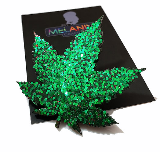 Glitter Weed Plant Brooch Pin