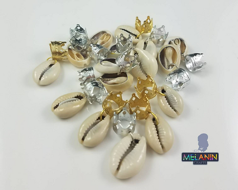 Crowned Cowrie Shell Hair Dred Rings Accessories