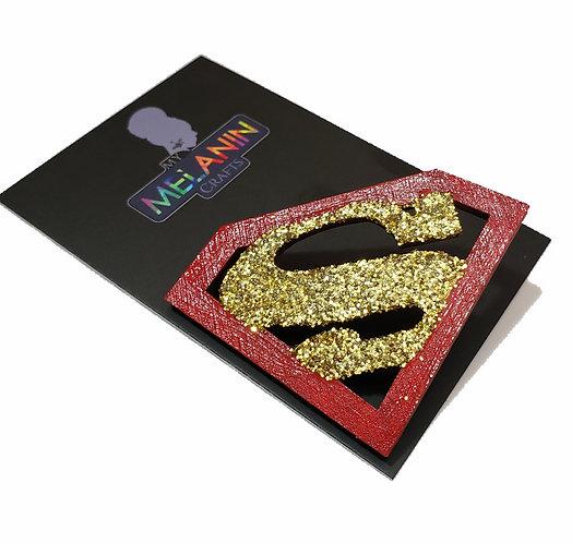 Super Man Symbol Glitter Brooch Pin