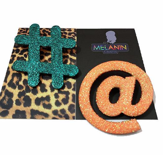Hashtag & At Symbol Brooch Pins