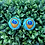 Thumbnail: Peacock Feathers - Fabric Button Earrings