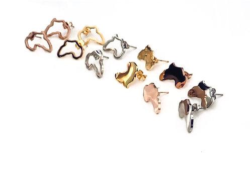 Mini Stud Africa Metal Earring (3 Colors- 2 Options)