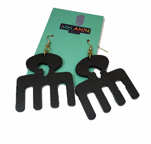Africa Afro Comb Earrings