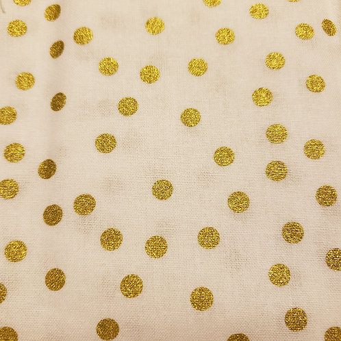 Gold Dots - Fabric Button Earrings