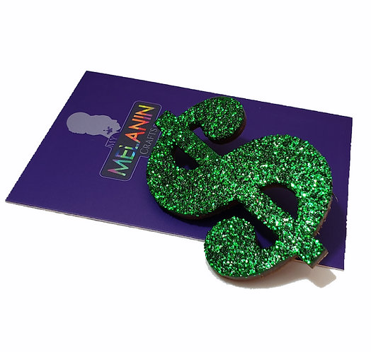 Dollar Sign Symbol Glitter Brooch Pin