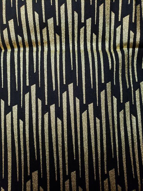 Golden Stripes - Fabric Button Earrings