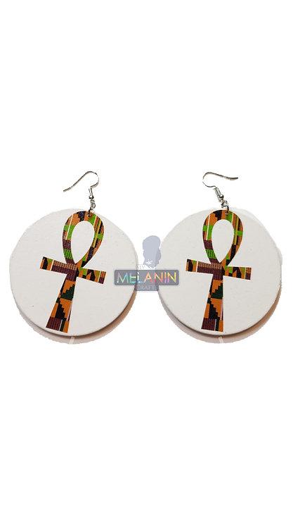 Kente Ankh - Wooden Earrings