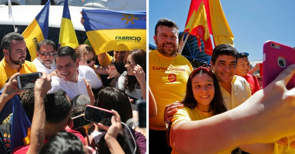 A la izquierda se observa Fabricio Alvarado rodeado por partidiarios de Restauración Nacional. Mientras que a la derecha, una joven se toma un selfie con Carlos Alvarado, rodeados de partidarios de Acción Ciudadana.