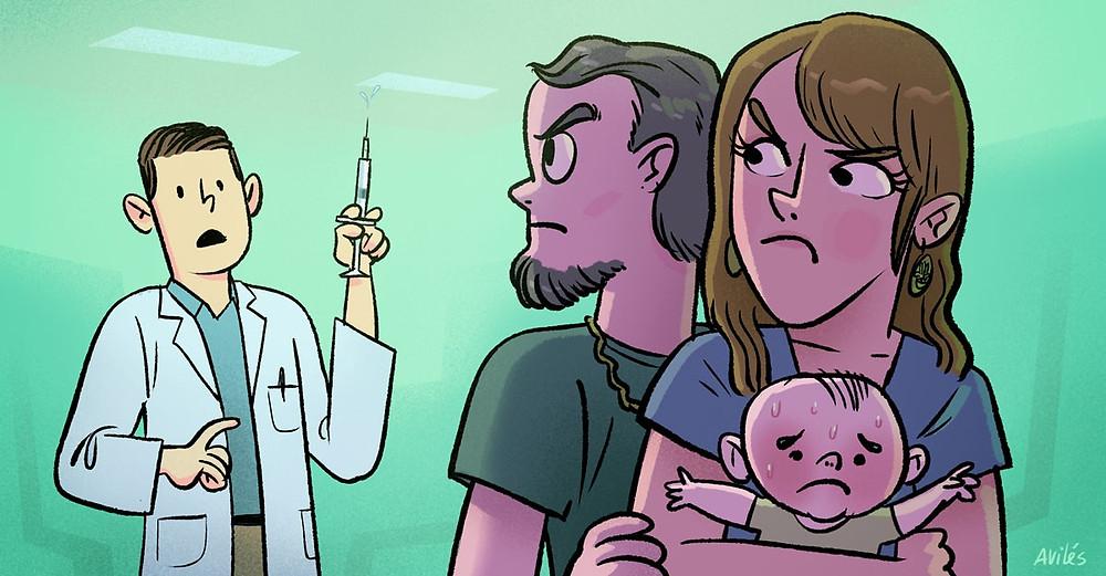Dibujo de sujeto en representación de un médico, del cual dos padres protegen a su hijo para que no sea vacunado.