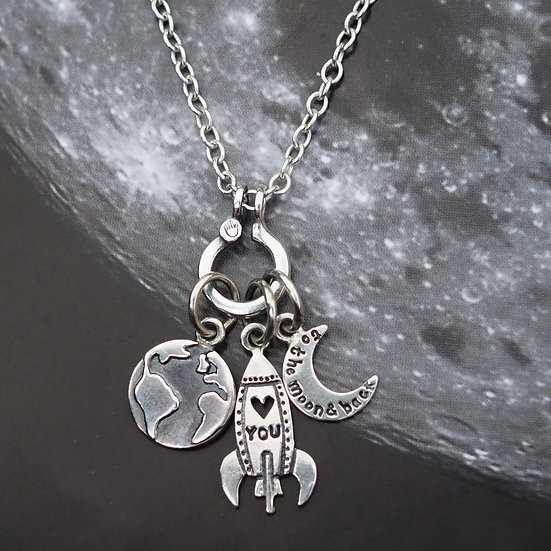 TO THE MOON AND BACK CHARM NECKLACE