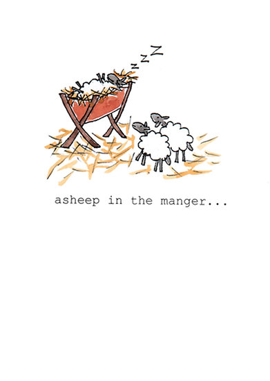ASHEEP IN THE MANGER CARD