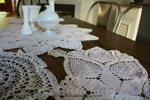 Vintage Doily Table Runner 84""