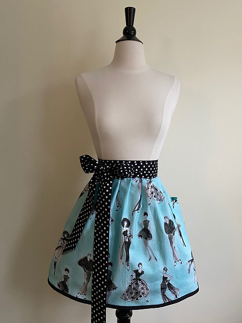 Vintage Fashion Waist Apron Blue