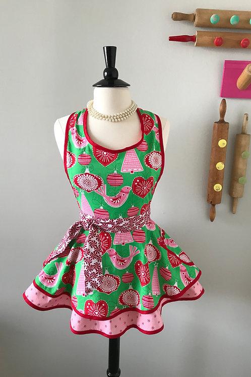 Retro Apron Scandinavian Christmas Circle Skirt