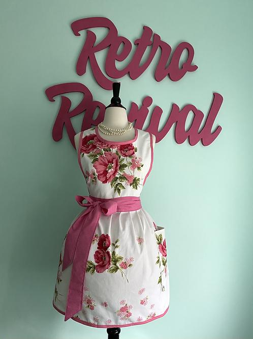 Pink Floral Vintage Tablecloth Retro Apron