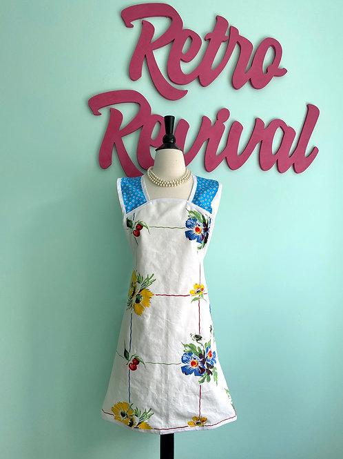 Floral Vintage Tablecloth A-Line Retro Apron