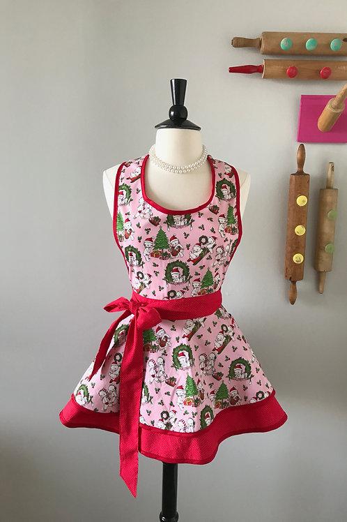 Retro Apron Kewpie Christmas Circle Skirt Apron