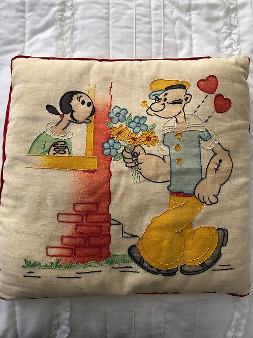 Vintage Popeye & Olive Oyl Pillow