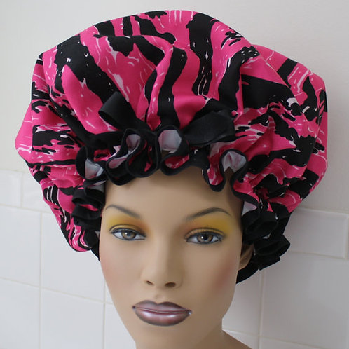 Pink Black XL Sleep Bonnet