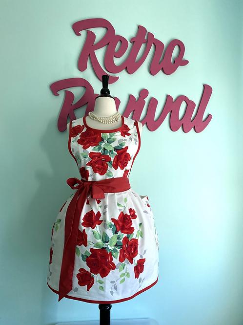Vintage Red Roses Apron