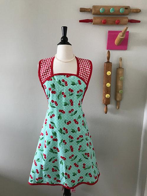 Cherry Poppin Mama Aqua A-Line Retro Apron