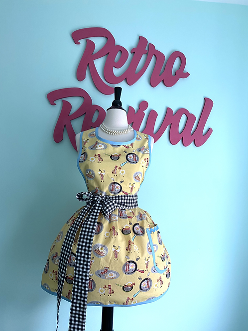 Playful Bacon and Eggs Yellow Retro Apron